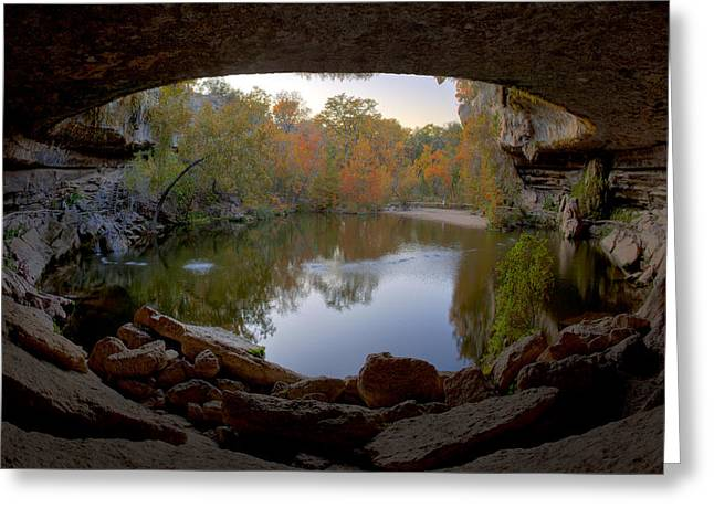 Hamilton Pool Texas Greeting Cards - Hamilton Pool Autumn Colors - Texas Hill Country Greeting Card by Rob Greebon