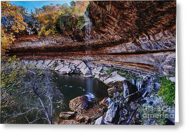 Hamilton Pool Texas Greeting Cards - Hamilton Pool in the Fall - Texas Hill Country Greeting Card by Silvio Ligutti