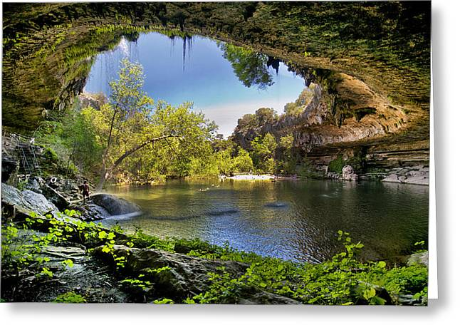 Water In Caves Greeting Cards - Hamilton Pool Greeting Card by Lisa  Spencer