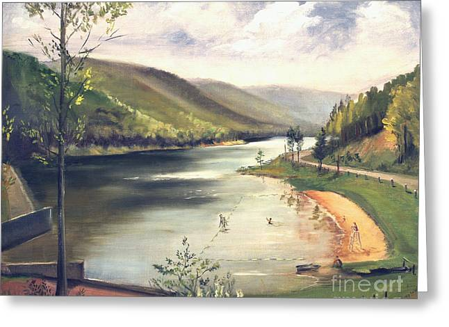 Hamlin Lake Beach 1945 Greeting Card by Art By Tolpo Collection