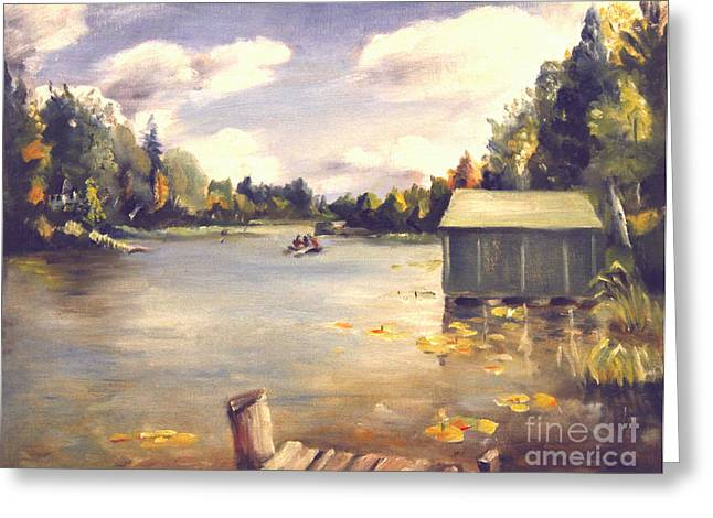 Hamlin Lake Dock 1945 Greeting Card by Art By Tolpo Collection