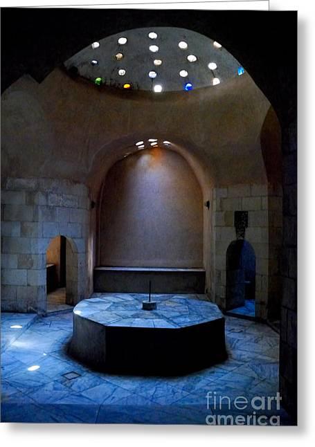 Public Bath Greeting Cards - Hammam Inal Greeting Card by Nigel Fletcher-Jones
