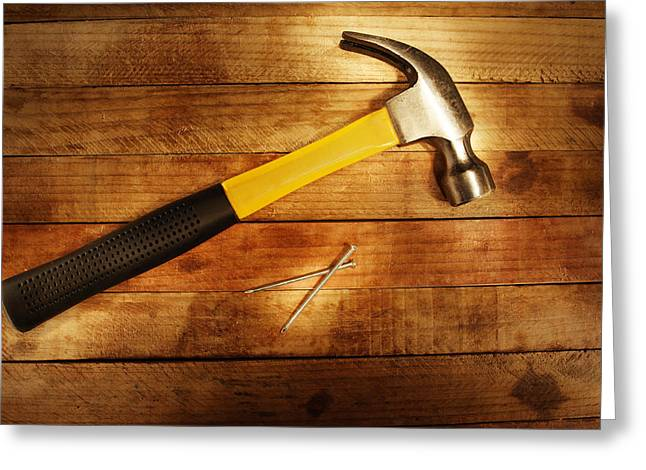 Hammer Greeting Cards - Hammer and nails Greeting Card by Les Cunliffe
