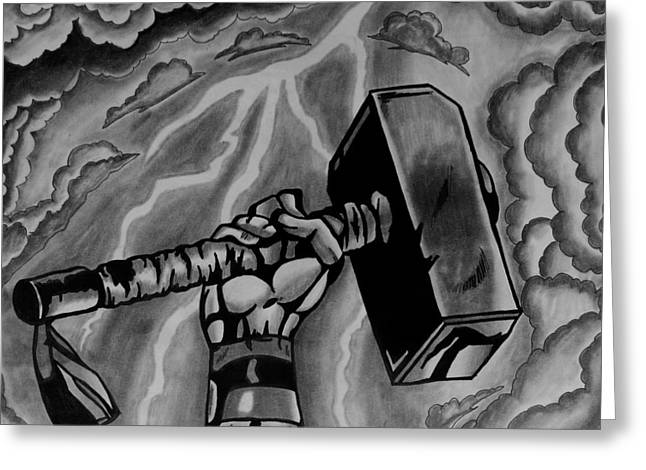 Thor Drawings Greeting Cards - Hammer Of Thor Greeting Card by Jeremy Moore