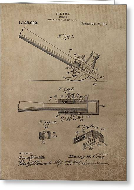Slam Greeting Cards - Hammer Patent Drawing Greeting Card by Dan Sproul