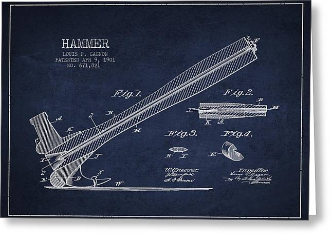 Hammer Greeting Cards - Hammer Patent Drawing from 1901 Greeting Card by Aged Pixel