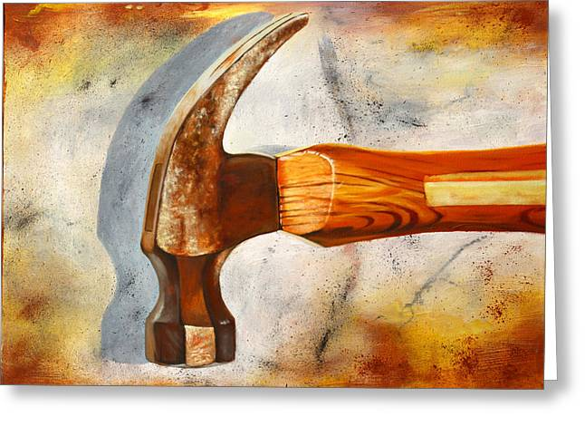 Hammer Paintings Greeting Cards - Hammered Greeting Card by Karl Melton