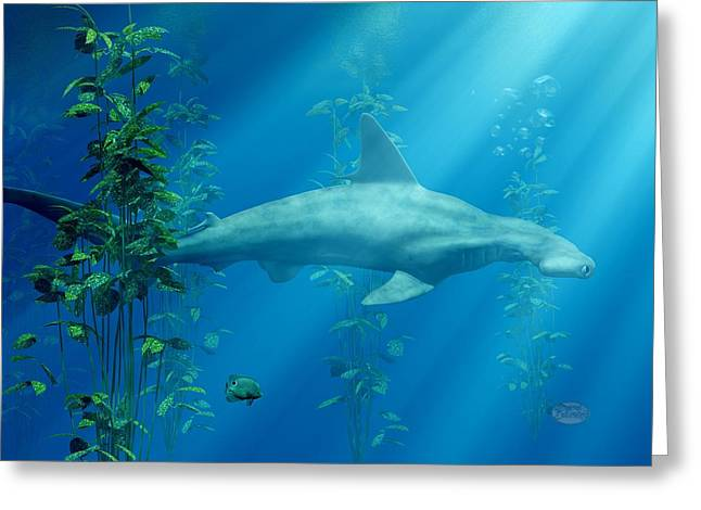 Marine Creatures Greeting Cards - Hammerhead Among the Seaweed Greeting Card by Daniel Eskridge