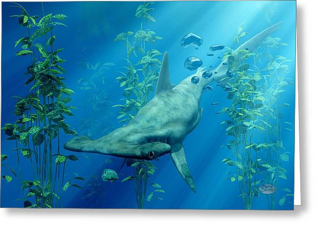 Hammerhead Art Greeting Card by Daniel Eskridge