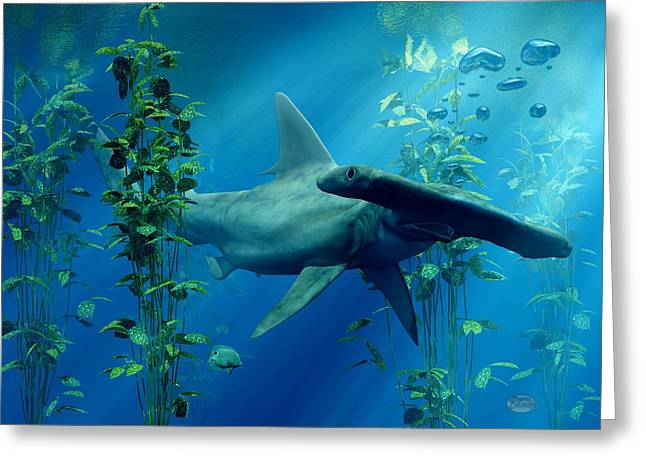 Marine Creatures Greeting Cards - Hammerhead Greeting Card by Daniel Eskridge