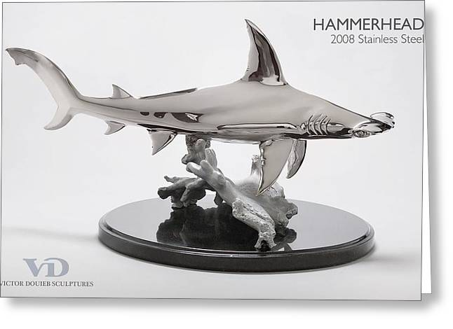 Sharks Sculptures Greeting Cards - Hammerhead  Greeting Card by Victor Douieb