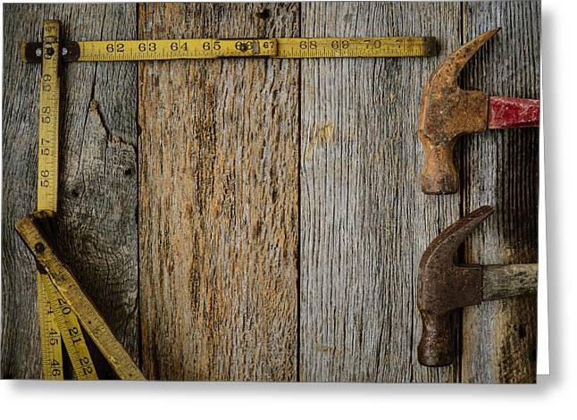 Yellow Hammer Greeting Cards - Hammers and Measuring Tape on Rustic Old Wood Background Greeting Card by Brandon Bourdages