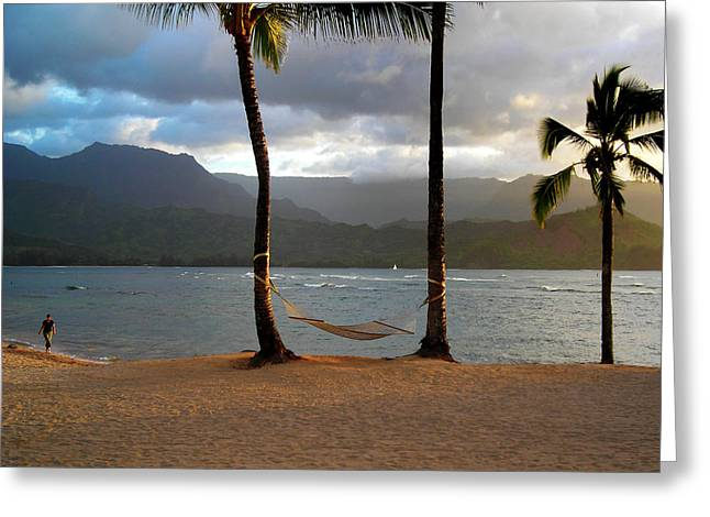 Walk On The Beach Greeting Cards - Hammock At Hanalei Bay Greeting Card by James Eddy