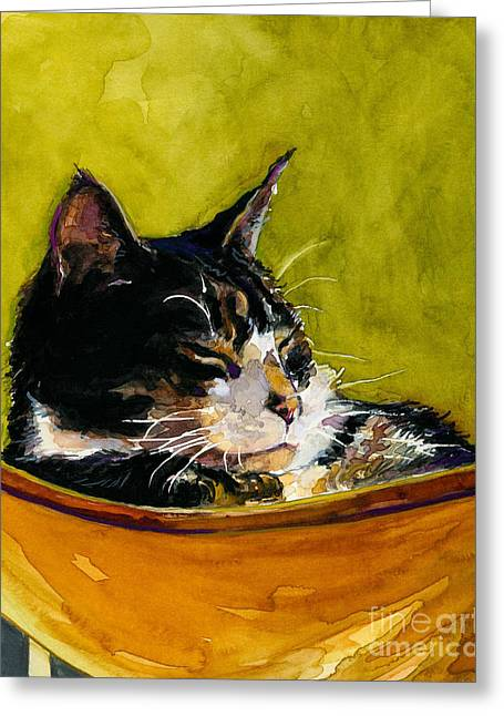 Cat Sleeping Greeting Cards - Hammock Greeting Card by Molly Poole