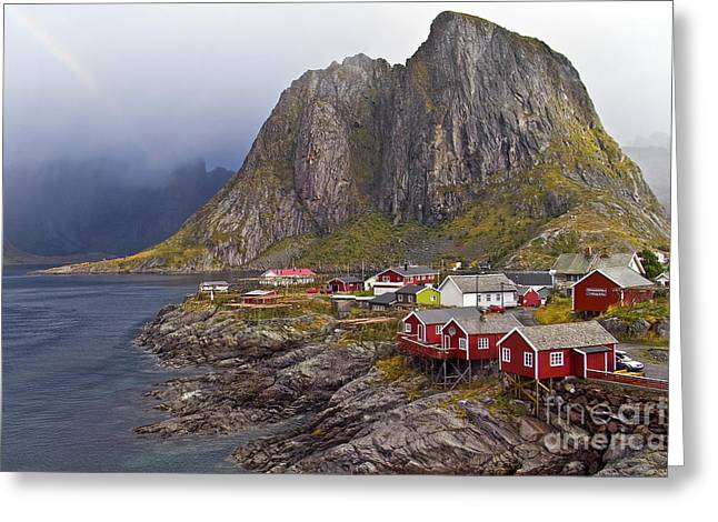 Heiko Koehrer-wagner Greeting Cards - Hamnoy Rorbu Village Greeting Card by Heiko Koehrer-Wagner