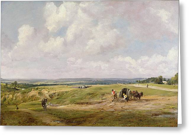 Donkey Paintings Greeting Cards - Hampstead Heath, C.1820 Greeting Card by John Constable