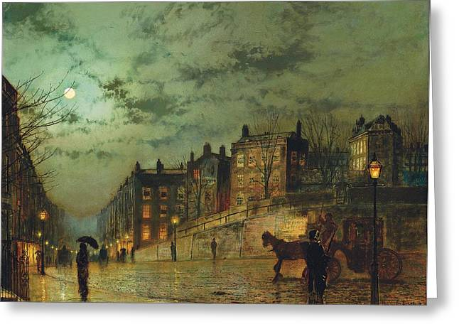 Moonlight Scene Paintings Greeting Cards - Hampstead Hill, Looking Down Heath Greeting Card by John Atkinson Grimshaw