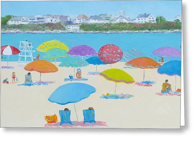People On Beach Greeting Cards - Hampton Beach Greeting Card by Jan Matson