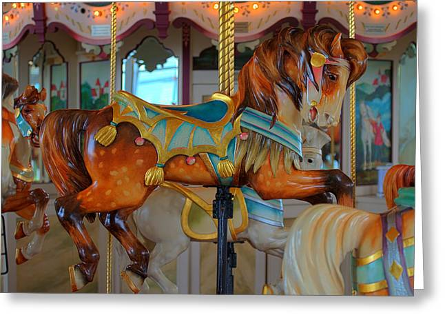 Amusements Greeting Cards - Hampton Carousel No. 3A Greeting Card by Greg Hager