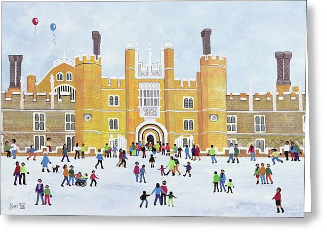 Palaces Greeting Cards - Hampton Court Front, 1991 Gouache On Paper Greeting Card by Judy Joel