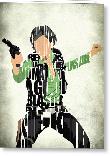 Typographic Digital Art Greeting Cards - Han Solo from Star Wars Greeting Card by Ayse Deniz