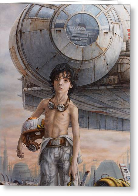 Starship Paintings Greeting Cards - Han Solo Greeting Card by Jose Luis Munoz Luque