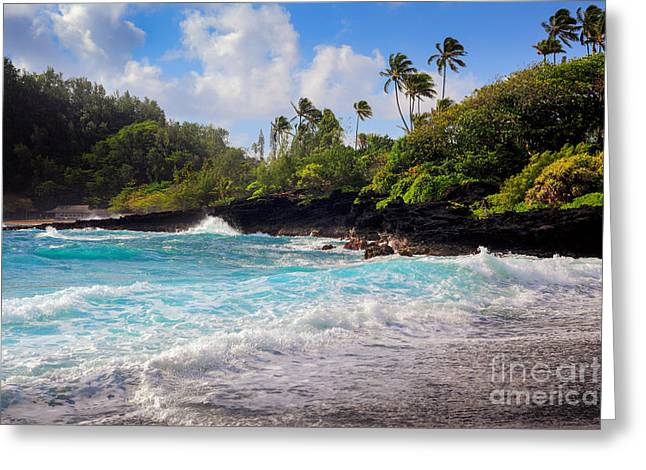 Froth Greeting Cards - Hana Bay Waves Greeting Card by Inge Johnsson