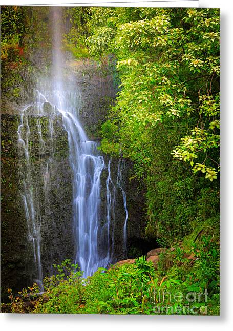 Harmonious Greeting Cards - Hana Waterfall Greeting Card by Inge Johnsson