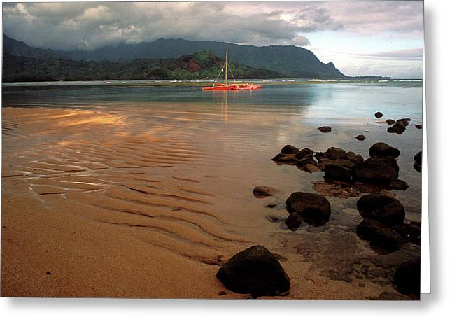 Recently Sold -  - Landscape Framed Prints Greeting Cards - Hanalei Bay at Dawn Greeting Card by Kathy Yates