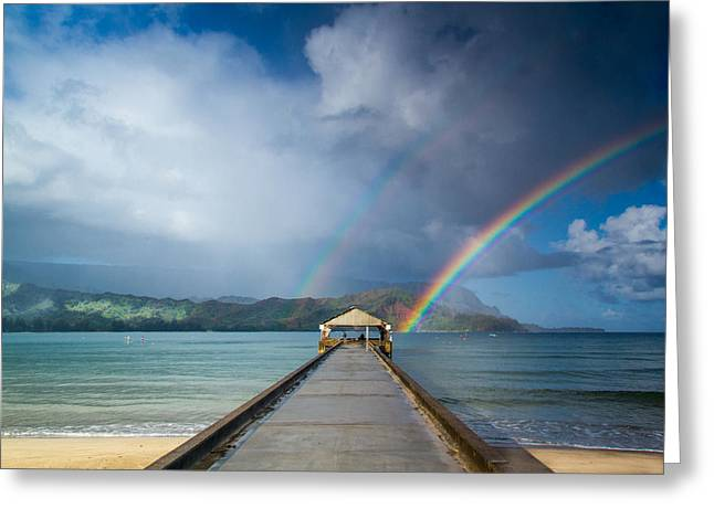 Double Rainbow Greeting Cards - Hanalei Bay Pier and Double Rainbow Greeting Card by Roger Mullenhour
