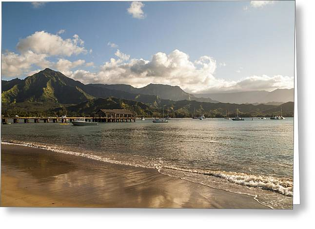 Hanalei Beach Greeting Cards - Hanalei Bay Pier - Kauai Hawaii Greeting Card by Brian Harig
