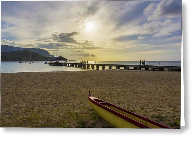 Hanalei Beach Greeting Cards - Hanalei Bay Pier Outrigger Canoe Sunset - Kauai Hawaii Greeting Card by Brian Harig