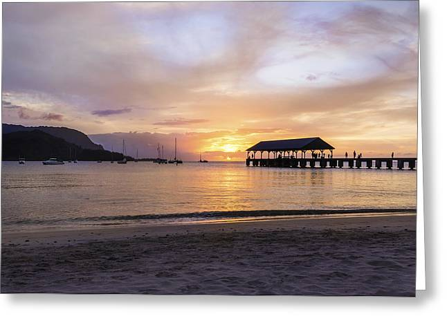 Hanalei Beach Greeting Cards - Hanalei Bay Pier Sunset 3 - Kauai Hawaii Greeting Card by Brian Harig