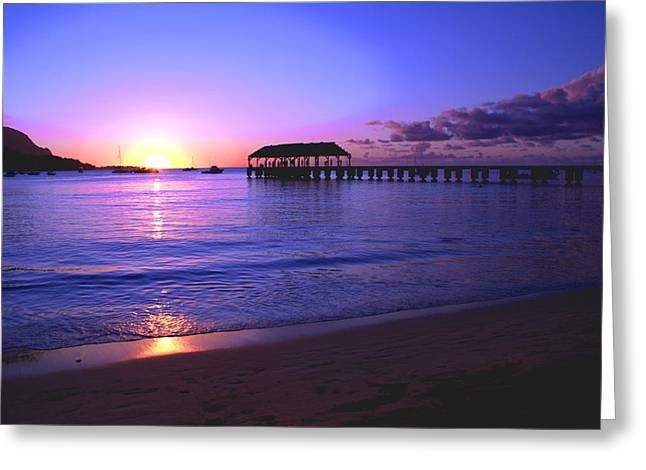 Hanalei Beach Greeting Cards - Hanalei Bay Pier Sunset Greeting Card by Brian Harig