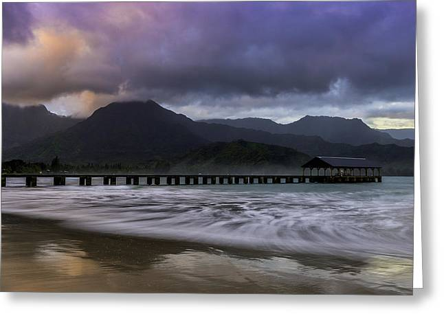 Hanalei Beach Greeting Cards - Hanalei Bay Sunrise Greeting Card by About Light  Images