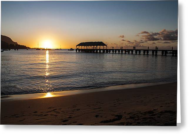 Hanalei Beach Greeting Cards - Hanalei Bay Sunset Greeting Card by Brian Harig