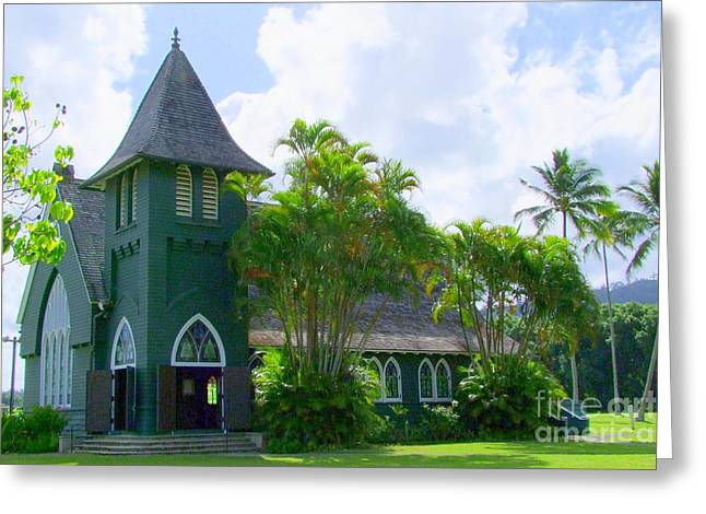 Mary Deal Greeting Cards - Hanalei Church Greeting Card by Mary Deal