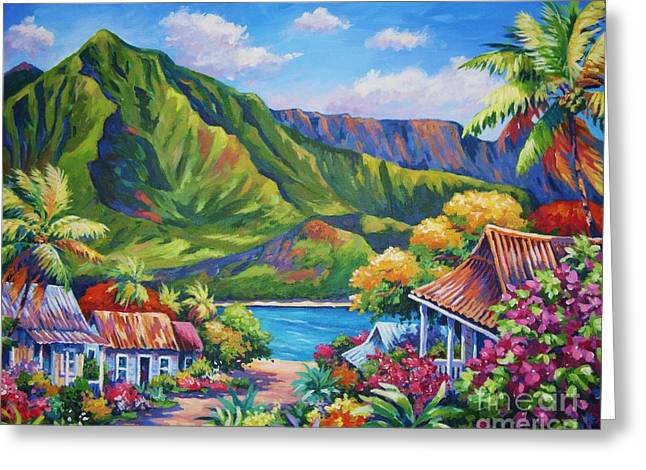 North Shore Paintings Greeting Cards - Hanalei in Bloom Greeting Card by John Clark