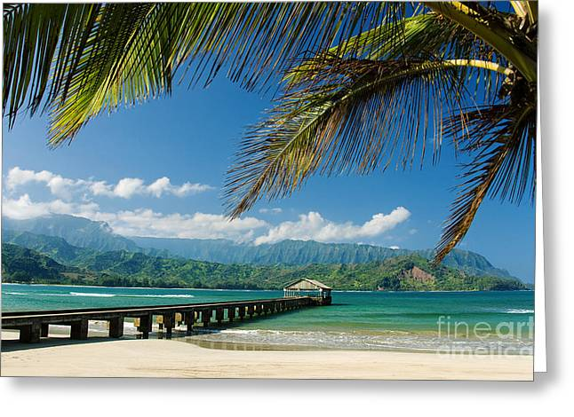 Hanalei Beach Greeting Cards - Hanalei Pier and beach Greeting Card by M Swiet Productions
