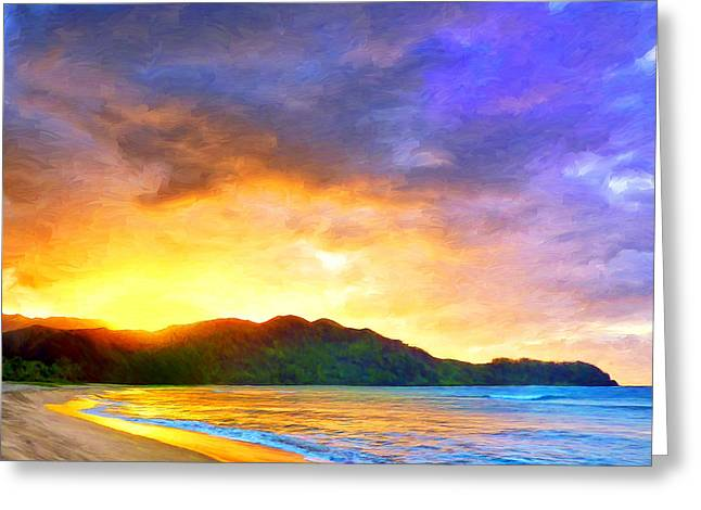 Lahaina Paintings Greeting Cards - Hanalei Sunset Greeting Card by Dominic Piperata