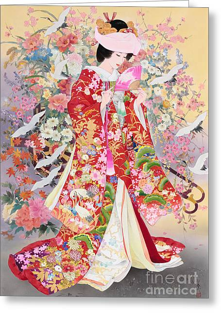 Art Print Digital Art Greeting Cards - Hanayagi Greeting Card by Haruyo Morita