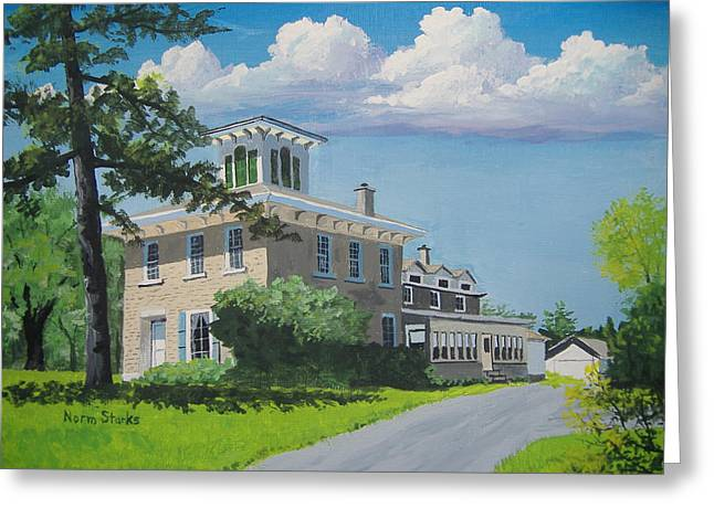 Old Home Place Paintings Greeting Cards - Hanchett-Bartlett Homestead Greeting Card by Norm Starks