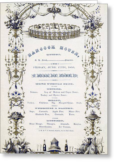 Recently Sold -  - Menu Greeting Cards - Hancock House Quincy Menu 1853 Greeting Card by Pierpoint Bay Archives