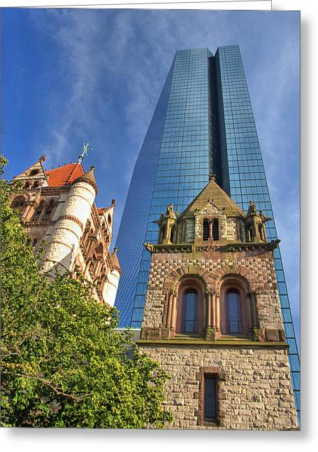 Fall Scenes Greeting Cards - Hancock Tower Over Trinity Church Greeting Card by Joann Vitali