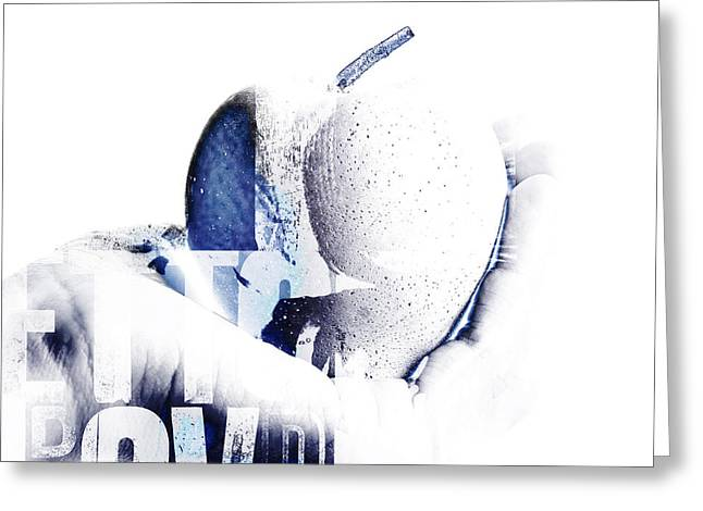 Tablets Greeting Cards - Hand and apple  Greeting Card by Toppart Sweden