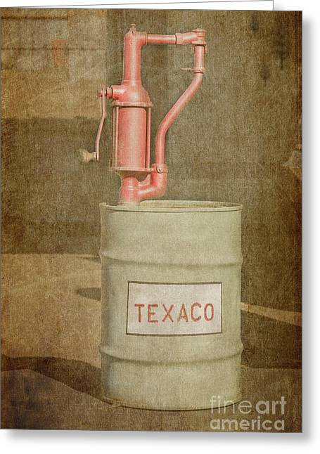 Mechanism Photographs Greeting Cards - Hand-Crank Oil Pump Greeting Card by Bob and Nancy Kendrick