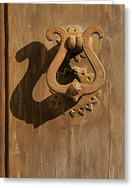 Hand Made Greeting Cards - Hand Forged Iron Door Handle II Greeting Card by David Letts
