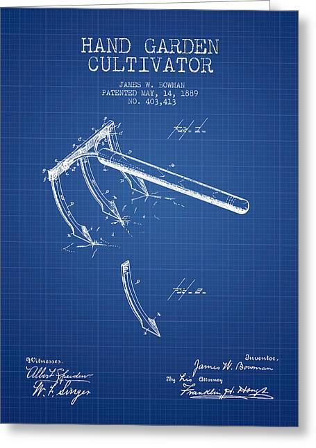 Farm Equipment Greeting Cards - Hand Garden Cultivator Patent from 1889 - Blueprint Greeting Card by Aged Pixel