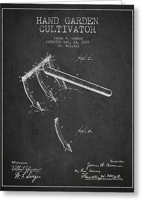 Farm Equipment Greeting Cards - Hand Garden Cultivator Patent from 1889 - Dark Greeting Card by Aged Pixel
