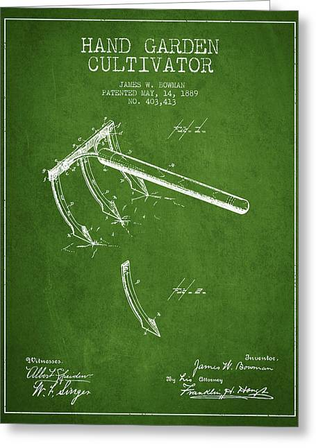 Farm Equipment Greeting Cards - Hand Garden Cultivator Patent from 1889 - Green Greeting Card by Aged Pixel